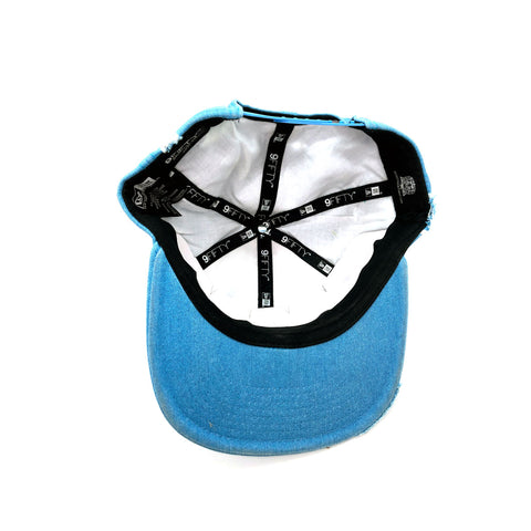 New Era x Secret Society Distressed Light Blue Denim Eye Logo Snapback Hat - KickzStore