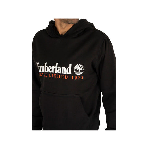 Timberland Men's Essential Established 1973 Black With Red Hoodie - KickzStore