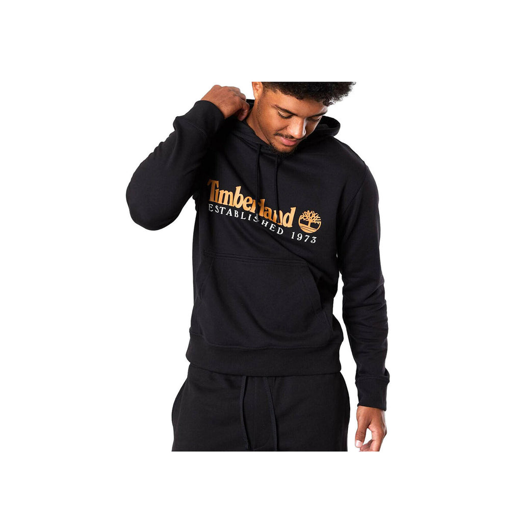 Timberland Men's Essential Established 1973 Black With Brown Hoodie