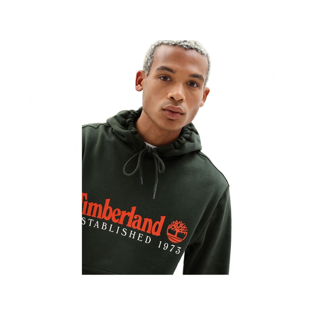 Timberland Men's Essential Established 1973 Green With Orange Hoodie