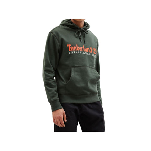 Timberland Men's Essential Established 1973 Green With Orange Hoodie - KickzStore