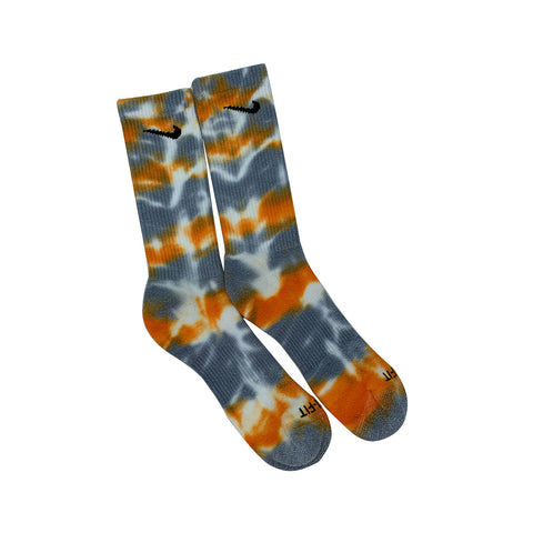 Nike Dri-Fit Tie Dye Orange Gray White Socks - KickzStore