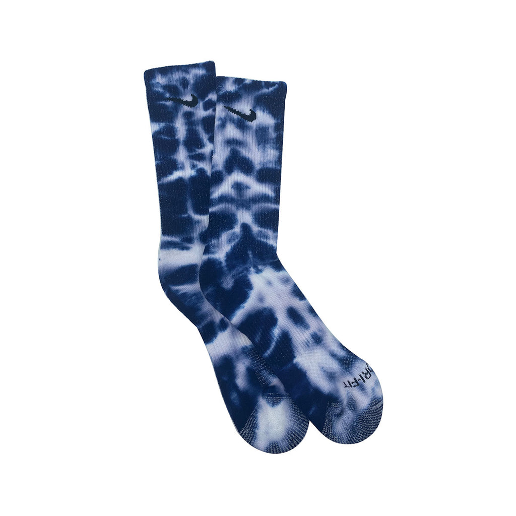Nike Dri-Fit Tie Dye White Navy Blue Socks