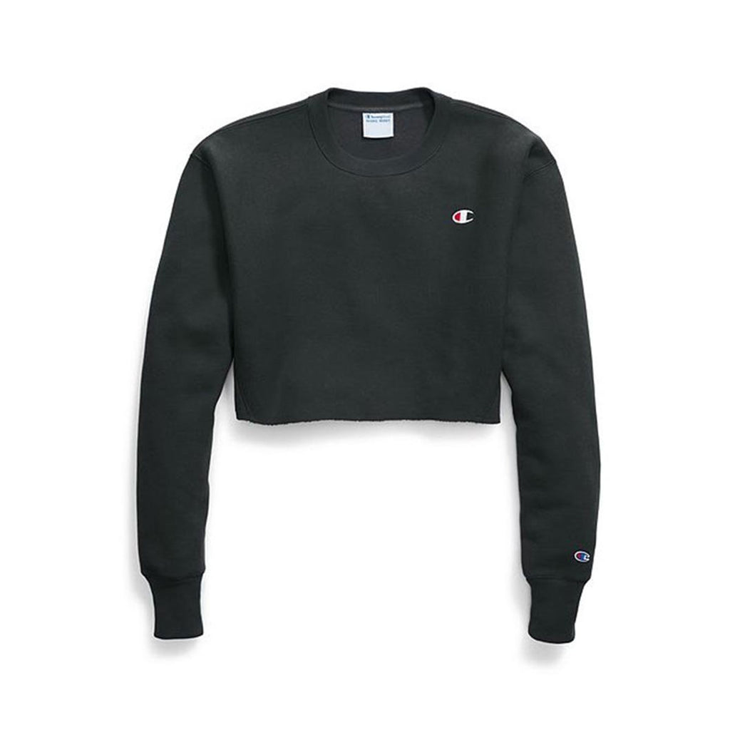 Champion Women's Reverse Weave Cropped Off Crewneck Black