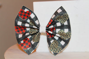 Gingham Leopard Hearts