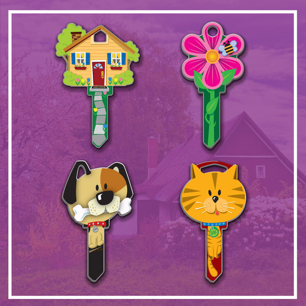 lucky line key shapes house dog cat flower
