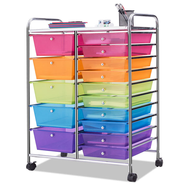 15 Drawer Colorful Rolling Storage Cart