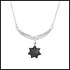 Star & Crescent Black Spinel Necklace Stripes Foliage Sterling Silver