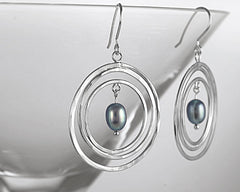 Sterling Silver Modern Pearl Earrings Peacock Gray