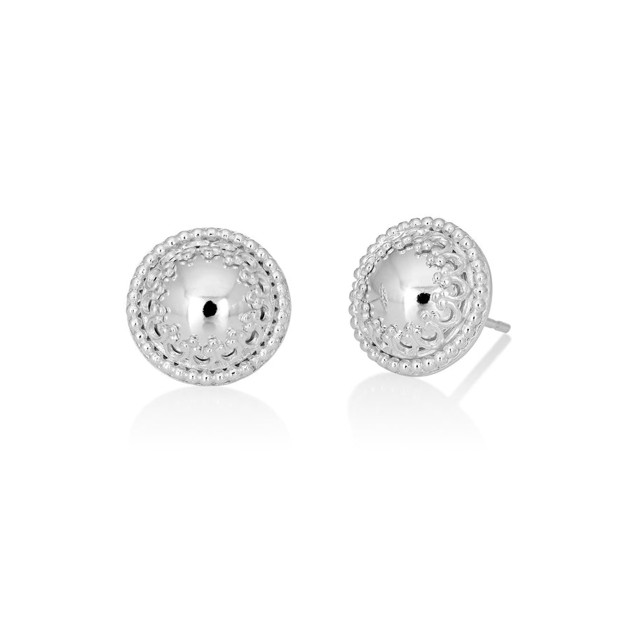 Reflections: Sterling Mirror Finish Dome Stud Earrings