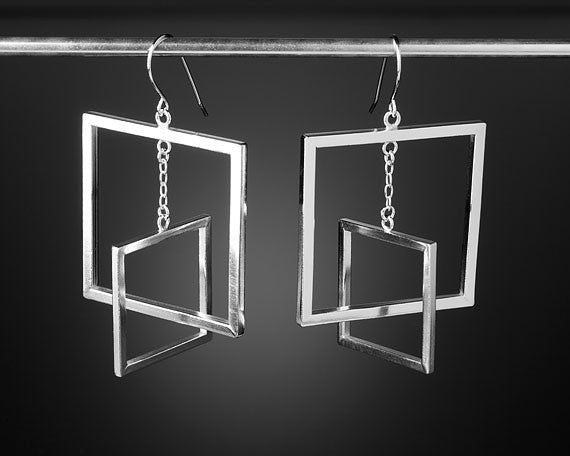 Modern floating square earrings