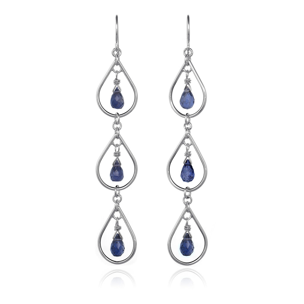 Three Teardrops Cascading Earrings - Iolite