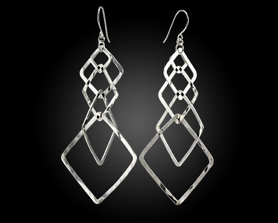 Designer multi-square hoop shaped earrings