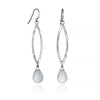 Blue Chalcedony Long Leaf Earrings Dangle Hammered Sterling Silver Pear