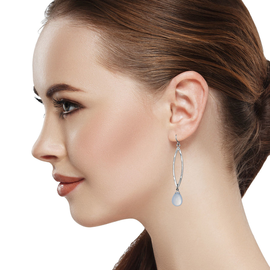Model Wearing Blue Chalcedony Long Leaf Earrings Dangle Sterling Silver Hammered Pear