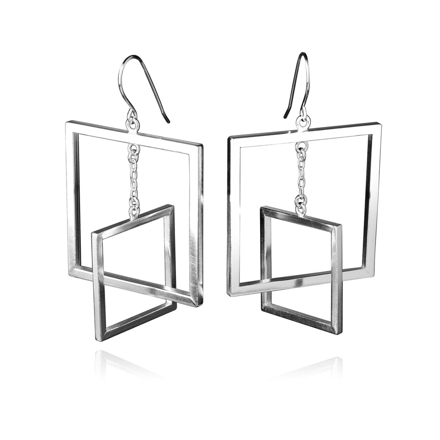 Contemporary Square Earrings, Sterling Silver