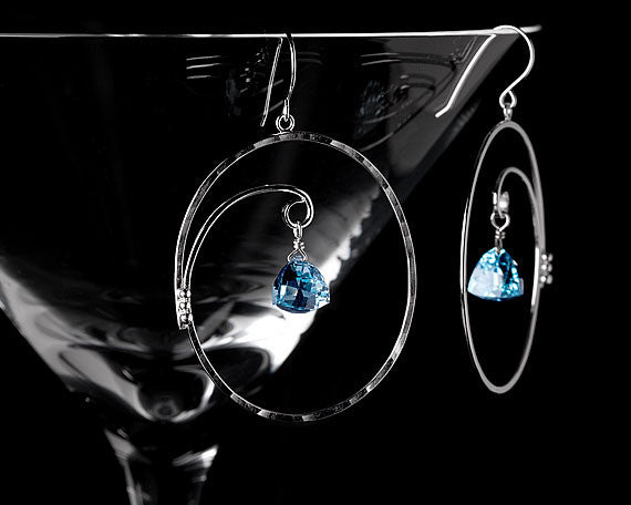 Contemporary jewelry sky blue topaz hoop earrings