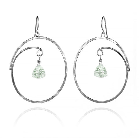 Large Oval Hoop Earrings Trillion Green Amethyst