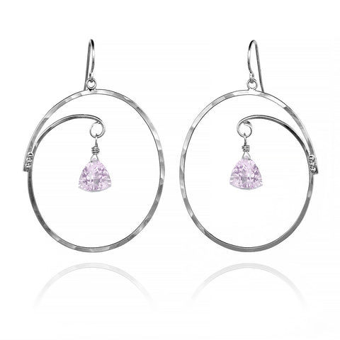 Large Oval Hoop Earrings Trillion Pink Amethyst