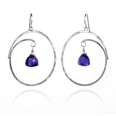 Large Oval Hoop Earrings Purple Amethyst