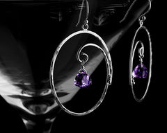 Handmade oval hoop jewelry earrings