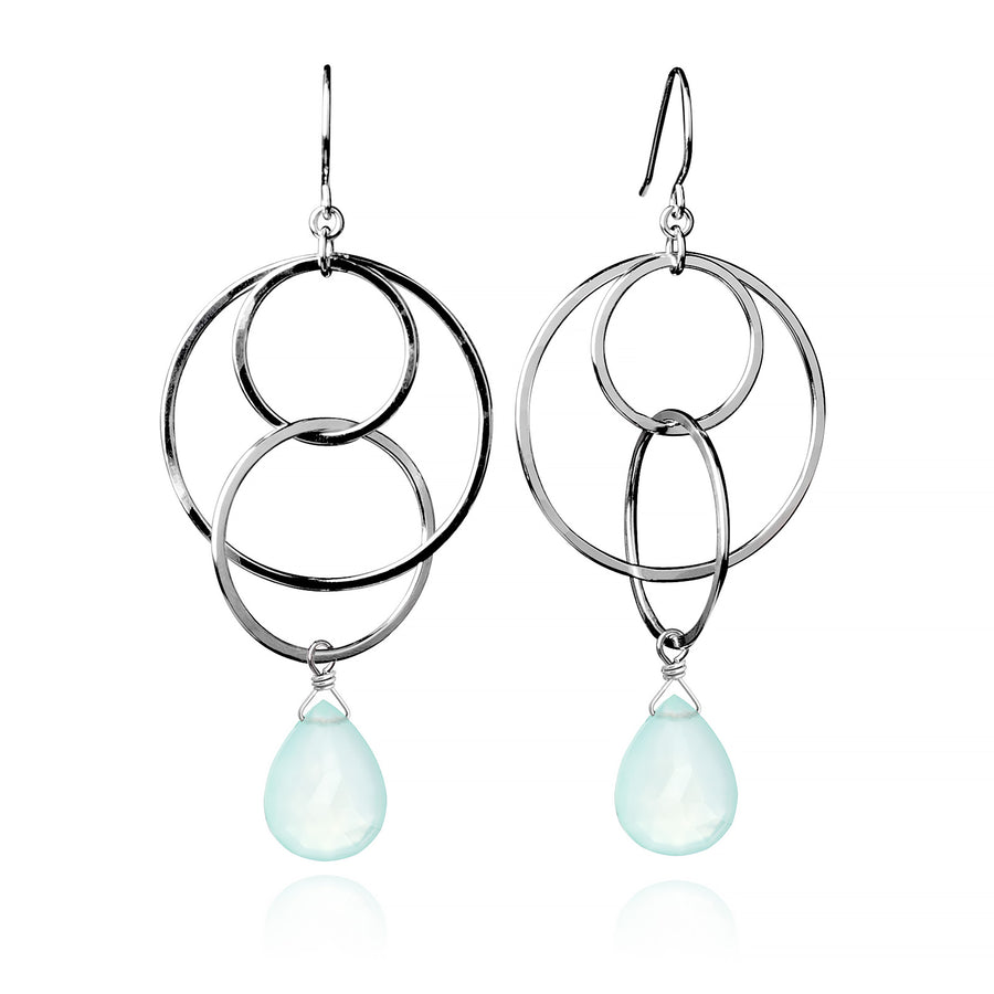 Large Multi-Hoop Earrings - Seafoam Chalcedony