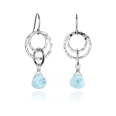 Small Multi Hoop Dangle Earrings - Larimar