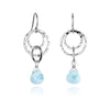 small multi hoop dangle earrings, pear shaped Larimar, hammered sterling silver hoops