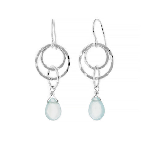 Small Multi-Hoop Dangle Earrings - Seafoam Chalcedony