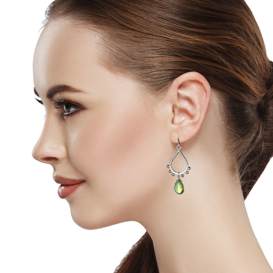 Model Wearing Small Teardrop Dangle Earrings Silver Ball Accents Yellow & Green Bicolor Quartz Drop