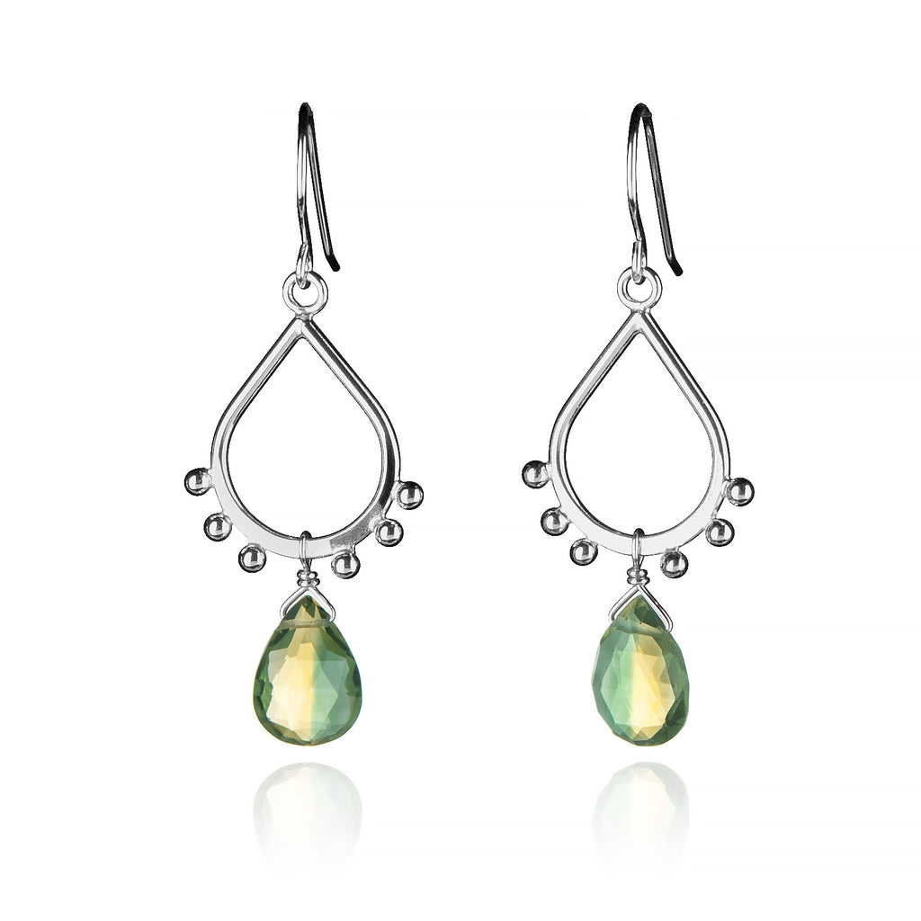 Small Teardrop Earrings Silver Ball Accents, Yellow & Green Bicolor Quartz