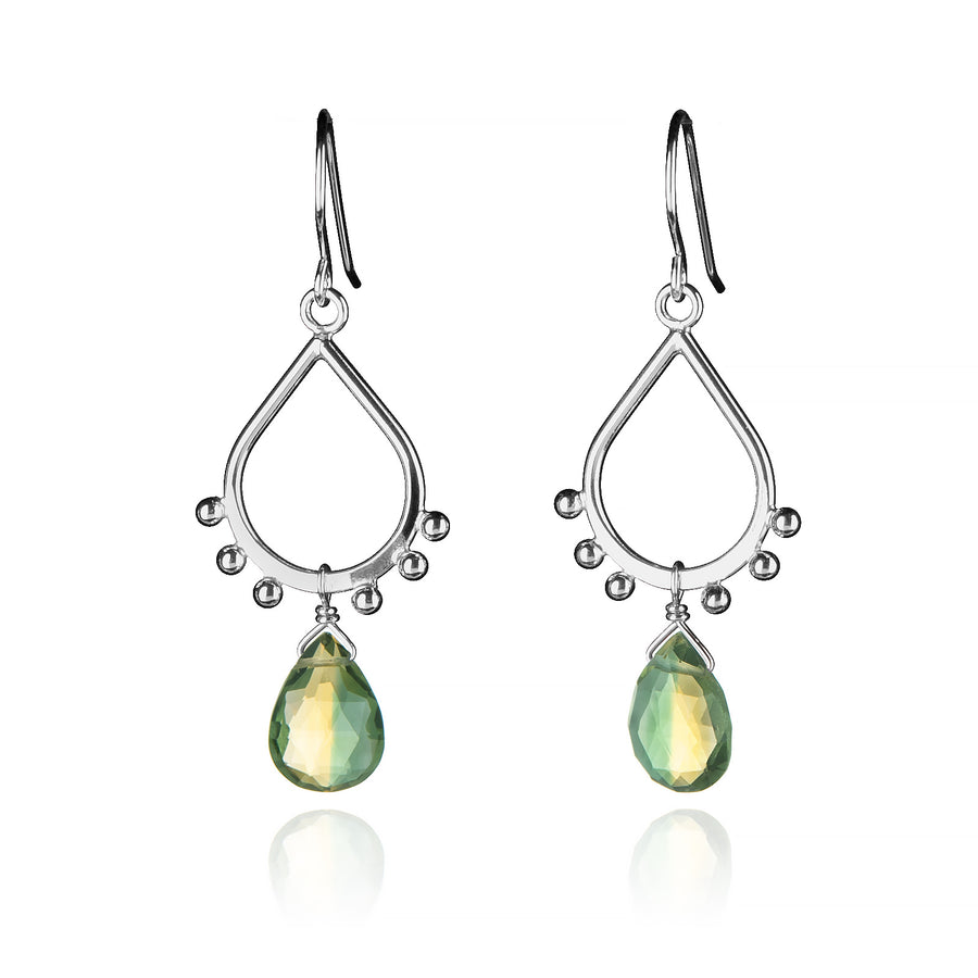 Small Teardrop Dangle Earrings Silver Ball Accents Yellow & Green Bicolor Quartz Drop Pear