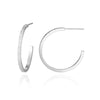 Sterling Silver 1 Inch Hoop Earrings Fine Line Texture