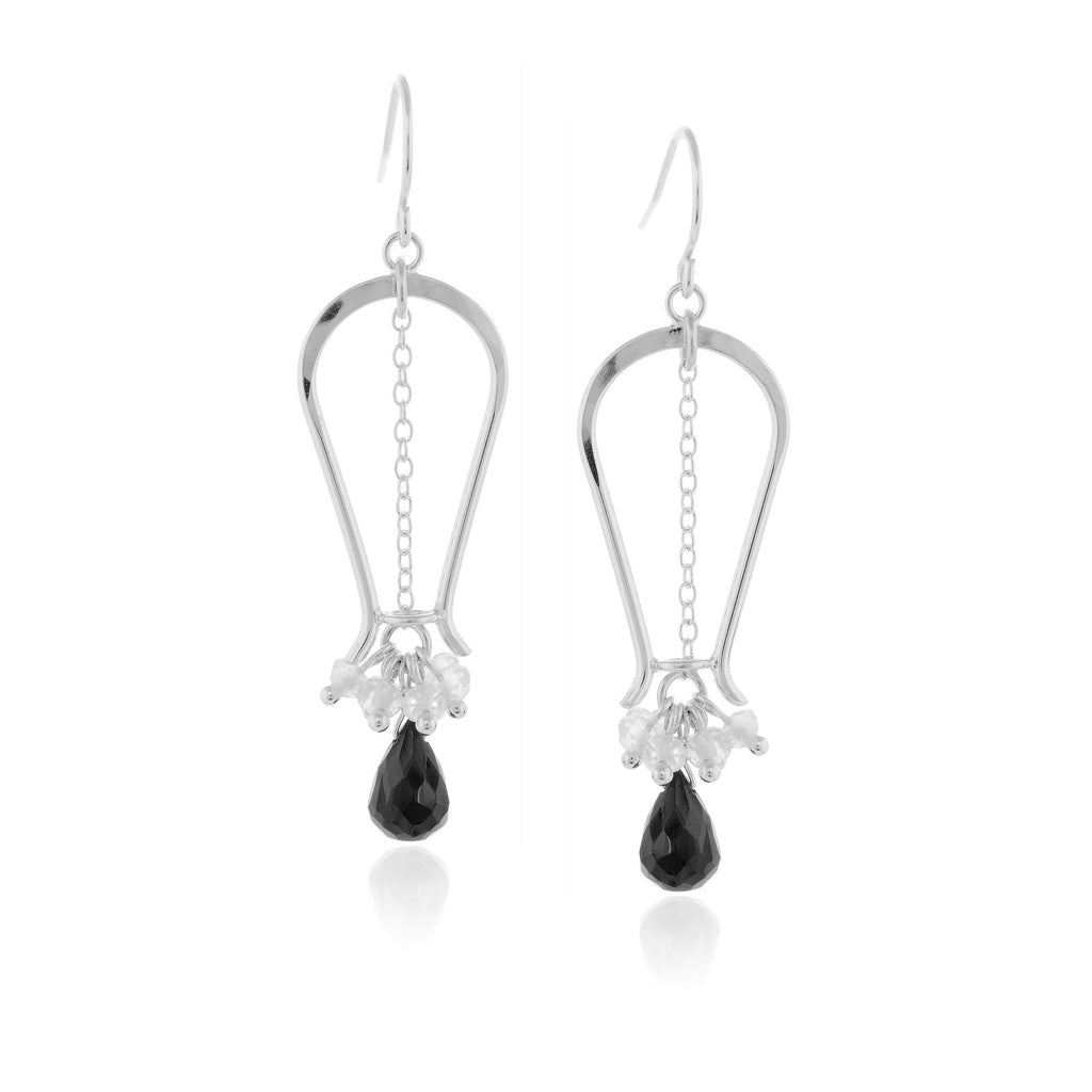 Black Spinel & Clear Quartz Earrings