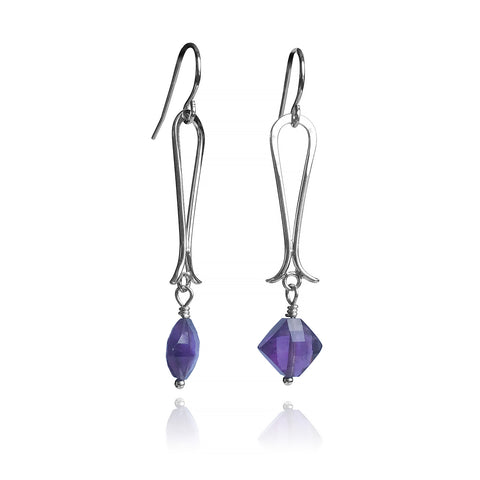 Flared Bottom Earrings - Purple Amethyst