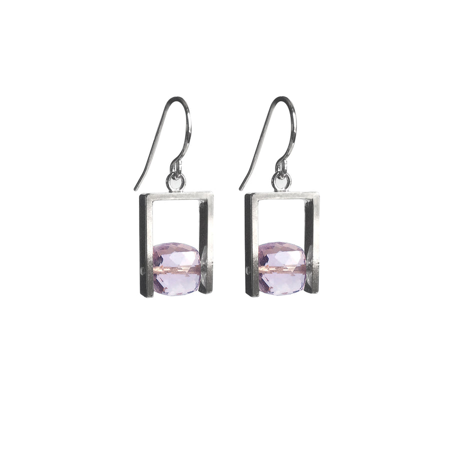 Pink Amethyst Square Cube Earrings