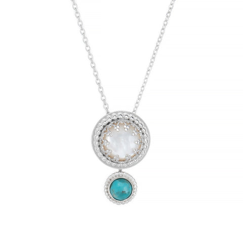 Mother of Pearl Turquoise Pendulum Necklace Gallery Wire