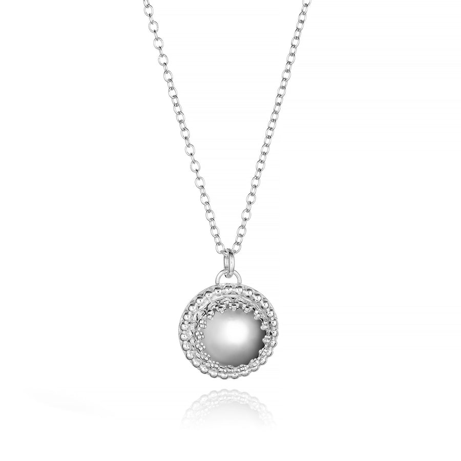 Reflections: Sterling Silver Mirror Finish Dome Necklace High Polished Gallery Wire Beaded Accent