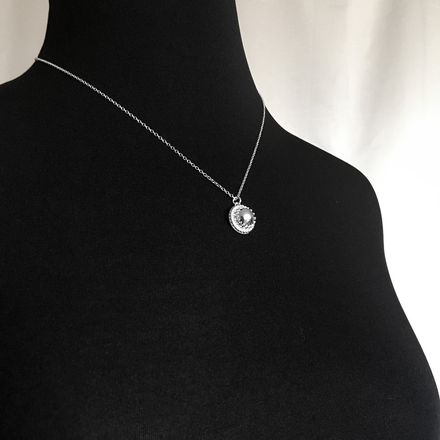 Mannequin Wearing Sterling Silver Mirror Finish Dome Necklace High Polished Gallery Wire Beaded Accent