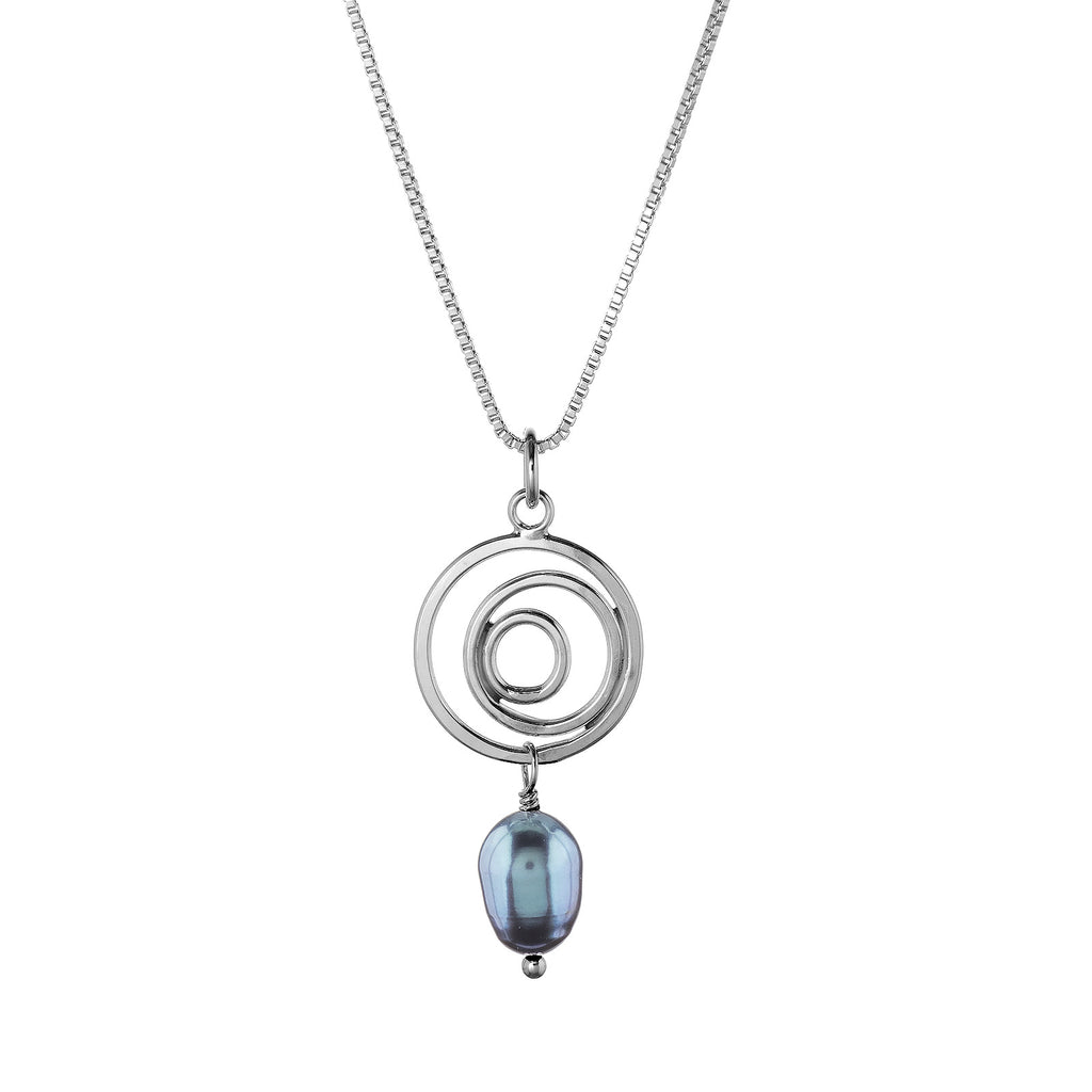 Organic Circle Necklace, Peacock Gray Pearl