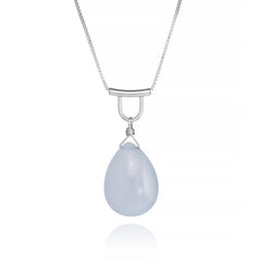 U-Tube Contemporary Large Blue Chalcedony Necklace