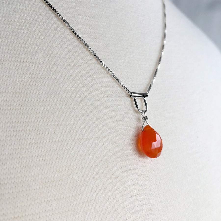 U-Tube Sterling Silver Slide Necklace Red Carnelian