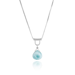 U-Tube Petite Larimar Necklace Sterling Silver
