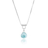U-Tube Petite Larimar Necklace Sterling Silver, Pear/Heart Shaped, Handmade Sliding Necklace