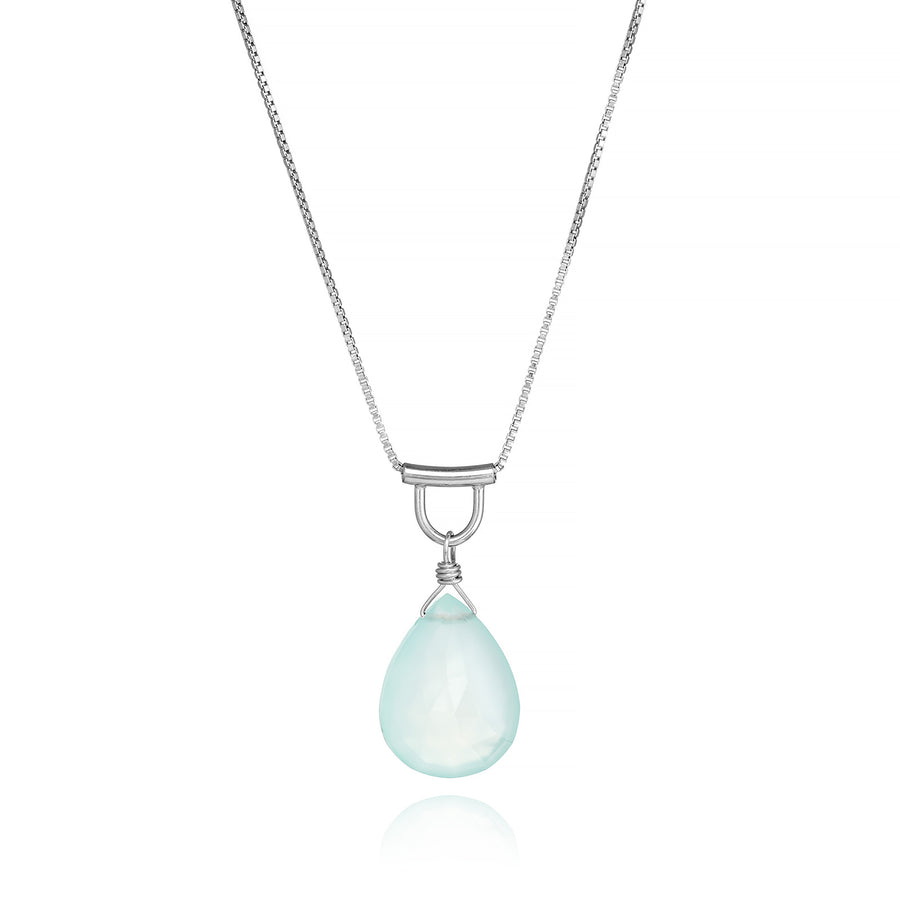 U-Tube Seafoam Chalcedony Necklace Sterling Silver