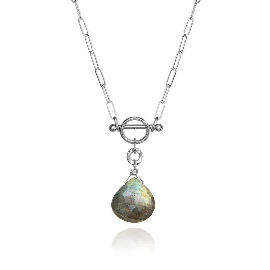 Labradorite Circle & Bar Necklace Sterling Silver Iridescent Green Pear/Heart Shaped