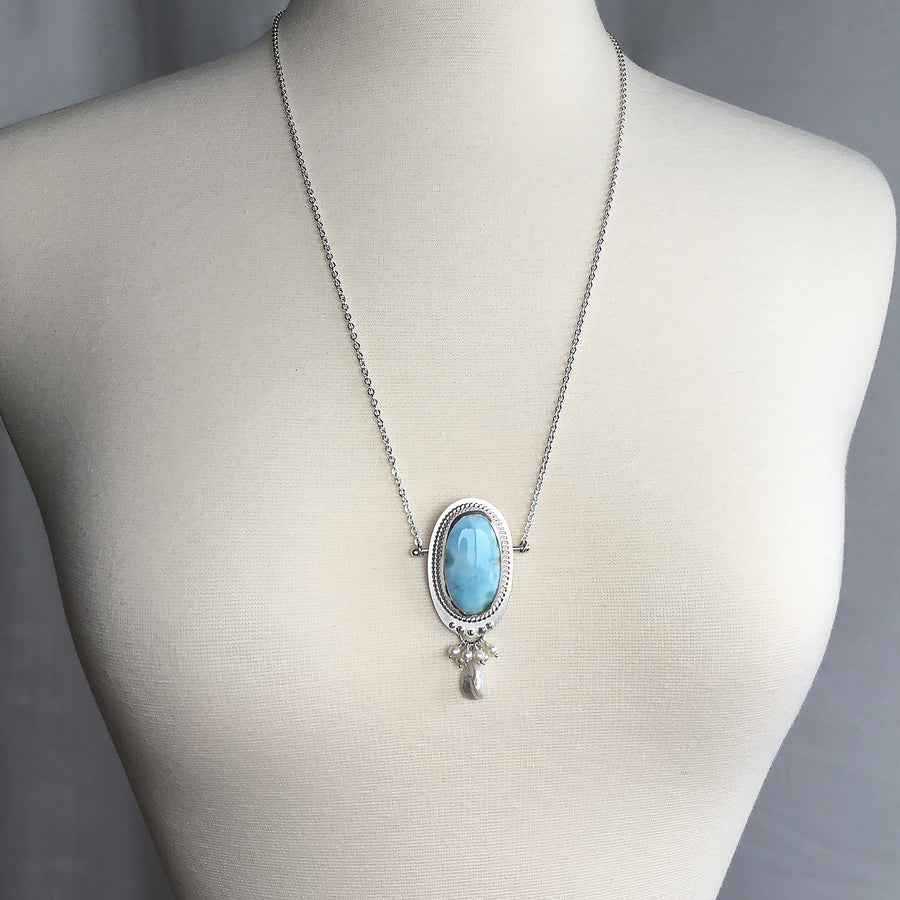 Mannequin Wearing Large Larimar Statement Long Necklace White Freshwater Pearl
