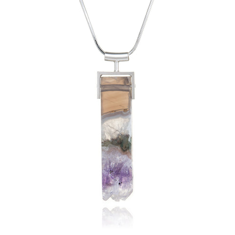 Square Bail Necklace, Amethyst Specimen Long Rectangle