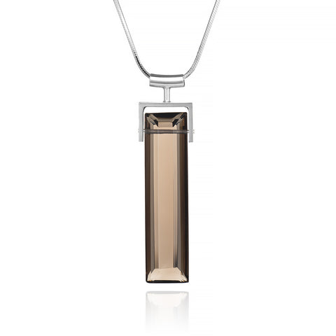 Smoky Quartz Long Rectangle Necklace, Square Bail