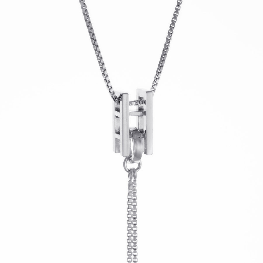 Square Bar Long Dangling Chain Necklace